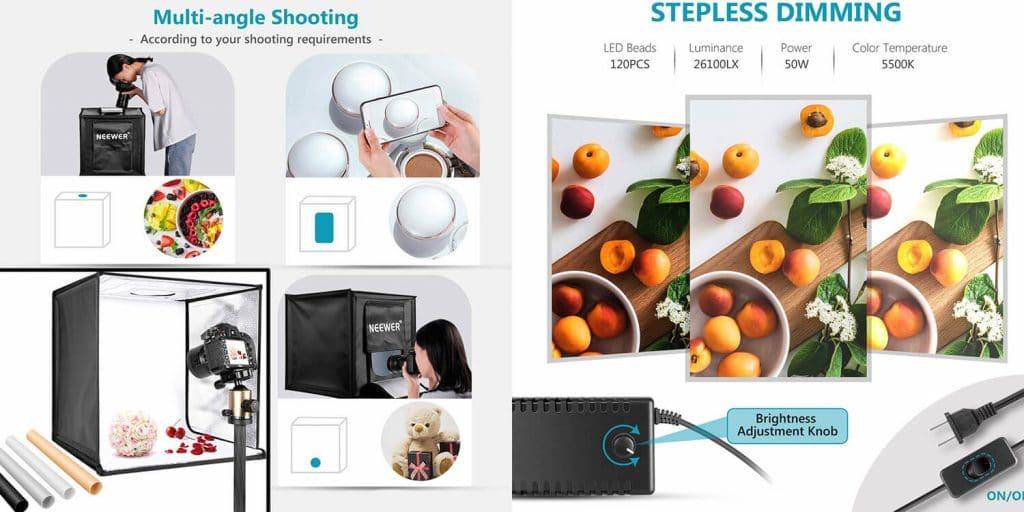 neewer photography light box for food